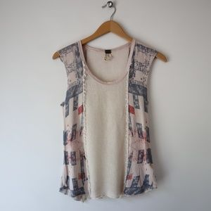 Free People Sleeveless Knit Patriotic Stand Top